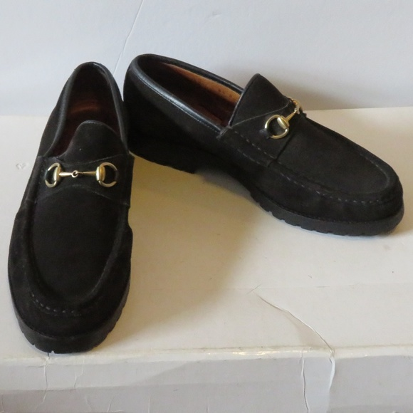 4efd63faa5a Gucci Shoes - GUCCI SUEDE BLACK HORSEBIT LUG SOLES LOAFERS 8.5